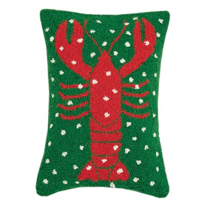 Marrone Holiday Lobster Hook Wool Lumbar Pillow