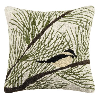 Marshal Chickadee Pine Hook Wool Throw Pillow