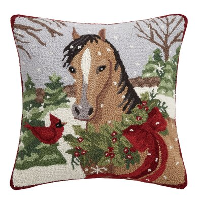 Marrone Holiday Cardinal Horse Hook Wool Throw Pillow