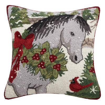 Marrone Holiday Horse Hook Wool Throw Pillow