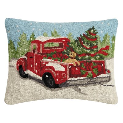 Marrone Holiday Truck Hook Wool Lumbar Pillow