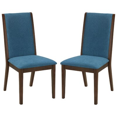 Port Morris Kendall Solid Wood Dining Chair Upholstery Color: Teal Blue