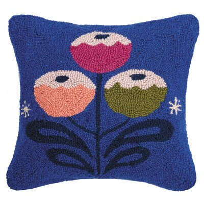 Martucci Joy to the World Hook Wool Throw Pillow