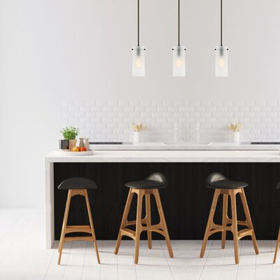 Barham 1-Light Mini Pendant Finish: Oil Rubbed Bronze, Shade Color: Frosted