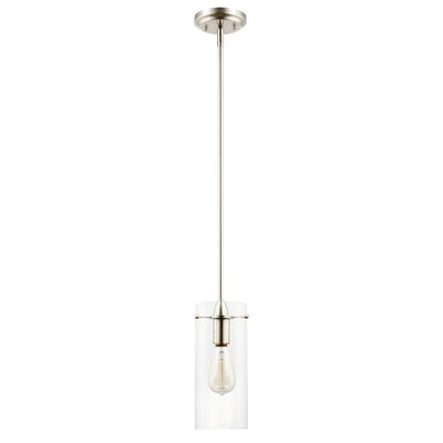 Barham 1-Light Mini Pendant Finish: Satin Nickel, Shade Color: Clear