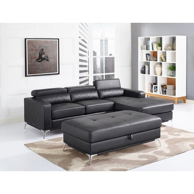 Tunbridge Sectional with Ottoman Upholstery: Black