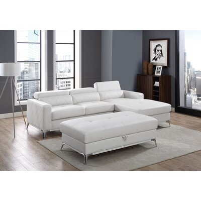 Tunbridge Sectional with Ottoman Upholstery: White