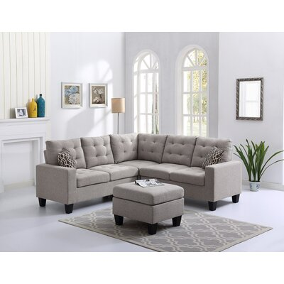 Griesinger Sectional with Ottoman Upholstery: Gray