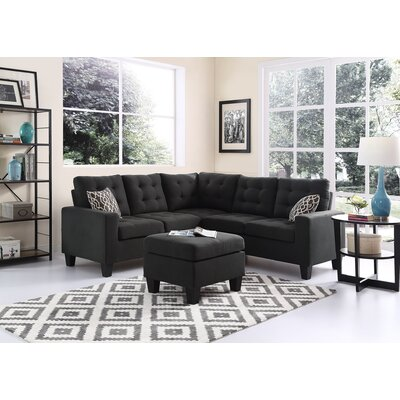 Griesinger Sectional with Ottoman Upholstery: Dark Gray