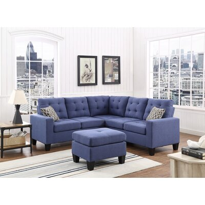 Griesinger Sectional with Ottoman Upholstery: Navy Blue