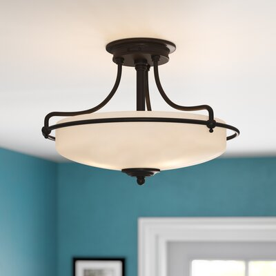 Helsley 3-Light Semi Flush Mount Size: 12 H x 17 W x 17 D, Finish: Palladian Bronze
