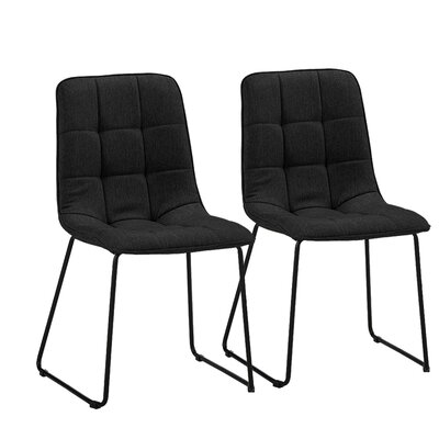 Gibb Tufted Upholstered Dining Chair Upholstery Color: Black