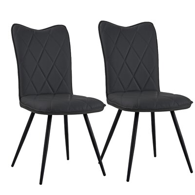 Giblin Upholstered Dining Chair Upholstery Color: Black