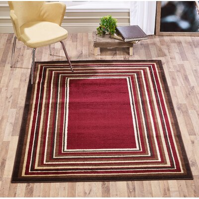 Johnathan Bordered Stripe Red Area Rug Rug Size: Rectangle 8 x 10
