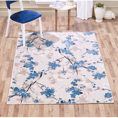 Johnathon Botanical Floral Taupe Area Rug Rug Size: Rectangle 5 x 7