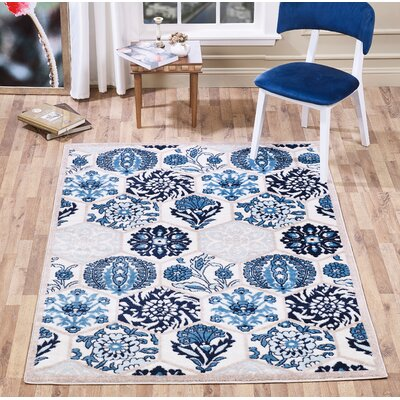 Johns Framed Floral Blue/Navy Area Rug Rug Size: Runner 2 x 5