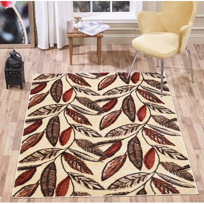 Johnsen Leaf Red/Brown Area Rug Rug Size: Rectangle 5 x 7