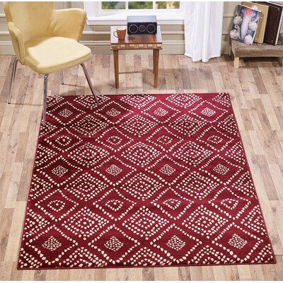 Mcmichael Medallion Dot Red Area Rug Rug Size: Runner 2 x 5