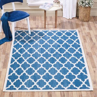 Waymire Ogee Aqua Area Rug Rug Size: Rectangle 5 x 7