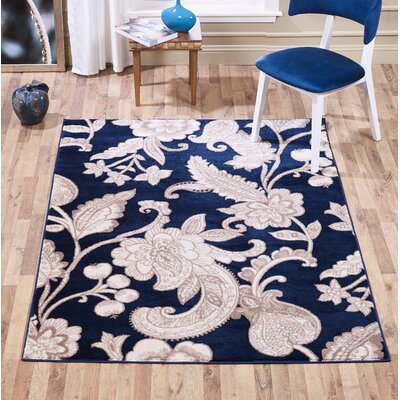Radel Botanical Swirl Navy Area Rug Rug Size: Rectangle 5 x 7