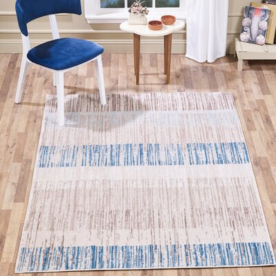 Chantae Watercolor Stripes Taupe/Navy Area Rug Rug Size: Rectangle 8 x 10