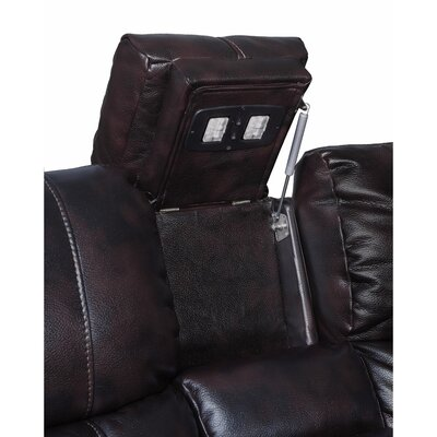 Kranzo Wooden Motion Genuine Leather Loveseat Upholstery: Brown