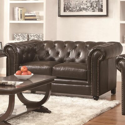 Wharton Tufted Genuine Leather Loveseat