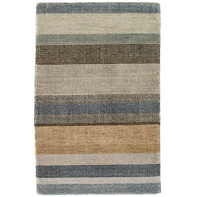 Birchwood Stripe Hand-Hooked Beige/Gray Area Rug Rug Size: Rectangle 8 x 10