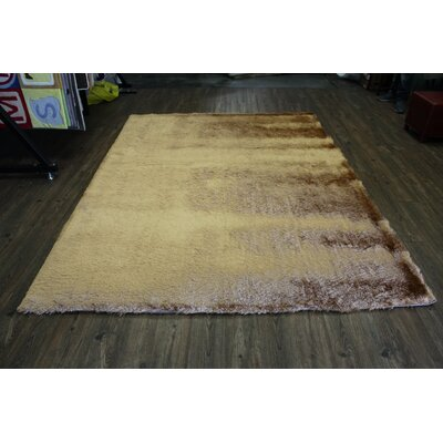 Vickrey Plush Hand-Tufted Gold Area Rug