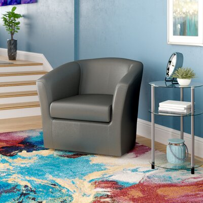 Agee Swivel Barrel Chair Upholstery: Leatherette Carbon
