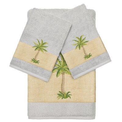 Mcleod 100% Turkish Cotton Embellished 3 Piece Towel Set Color: Light Gray