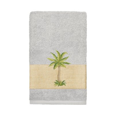 Mcleod 100% Turkish Cotton Embellished Hand Towel Color: Light Gray