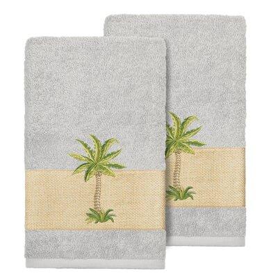 Mcleod 100% Turkish Cotton Embellished Hand Towel Color: Light Gray