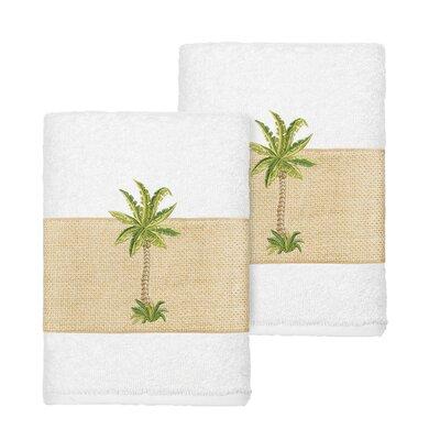 Mcleod 100% Turkish Cotton Embellished Washcloth Color: White