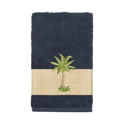 Mcleod 100% Turkish Cotton Embellished Hand Towel Color: Midnight Blue