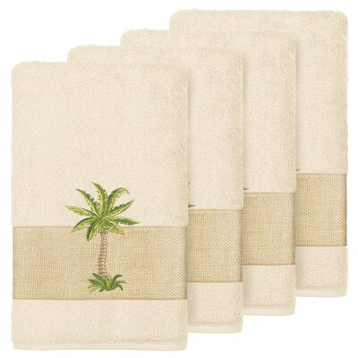 Mcleod 100% Turkish Cotton Embellished Hand Towel Color: Cream