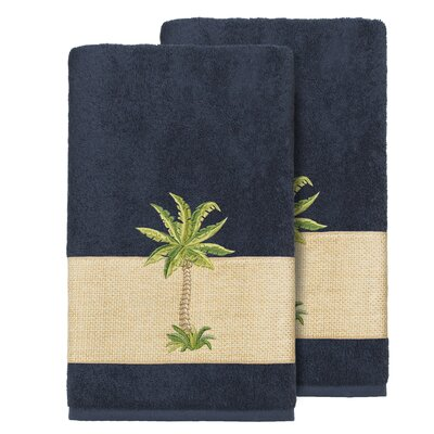 Mcleod 100% Turkish Cotton Embellished Bath Towel Color: Midnight Blue
