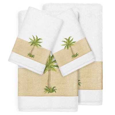 Mcleod 100% Turkish Cotton Embellished 4 Piece Towel Set Color: White