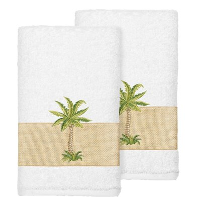 Mcleod 100% Turkish Cotton Embellished Hand Towel Color: White
