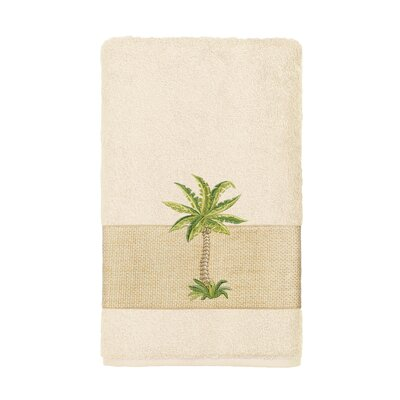 Mcleod 100% Turkish Cotton Embellished Hand Towel Color: Cream