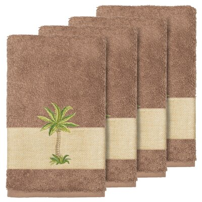 Mcleod 100% Turkish Cotton Embellished Hand Towel Color: Latte