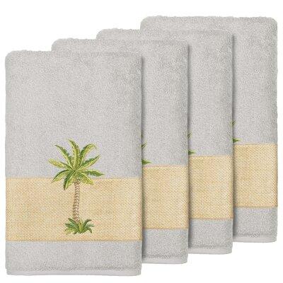 Krupa 100% Turkish Cotton Embellished Bath Towel Color: Light Gray