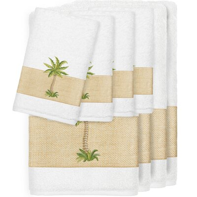 Krupa 100% Turkish Cotton Embellished 8 Piece Towel Set Color: White