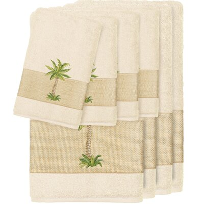 Krupa 100% Turkish Cotton Embellished 8 Piece Towel Set Color: Cream
