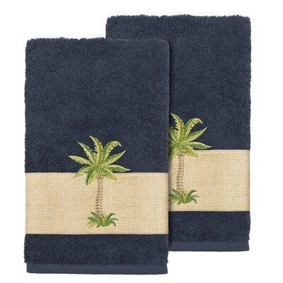 Mcleod 100% Turkish Cotton Embellished Hand Towel Color: Midnight Blue