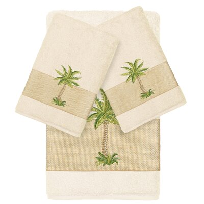 Mcleod 100% Turkish Cotton Embellished 3 Piece Towel Set Color: Cream