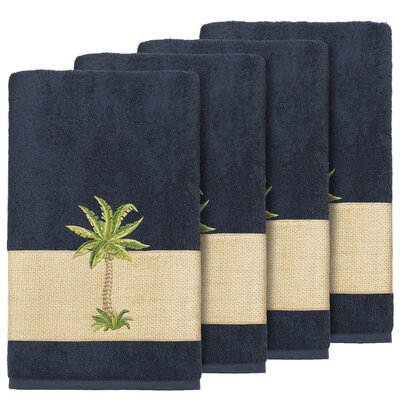 Krupa 100% Turkish Cotton Embellished Bath Towel Color: Midnight Blue