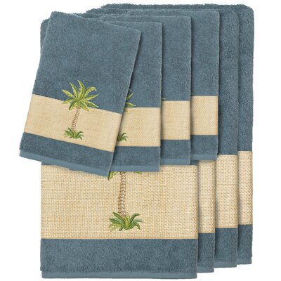 Krupa 100% Turkish Cotton Embellished 8 Piece Towel Set Color: Teal