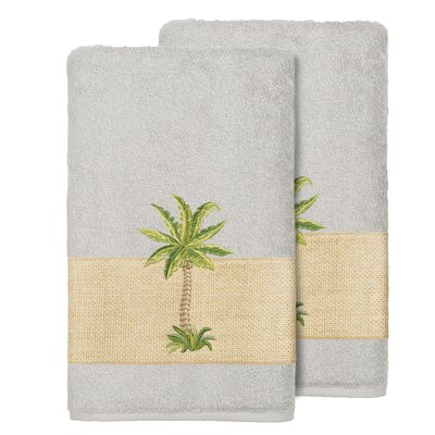 Mcleod 100% Turkish Cotton Embellished Bath Towel Color: Light Gray