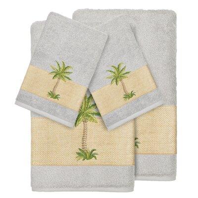 Mcleod 100% Turkish Cotton Embellished 4 Piece Towel Set Color: Light Gray